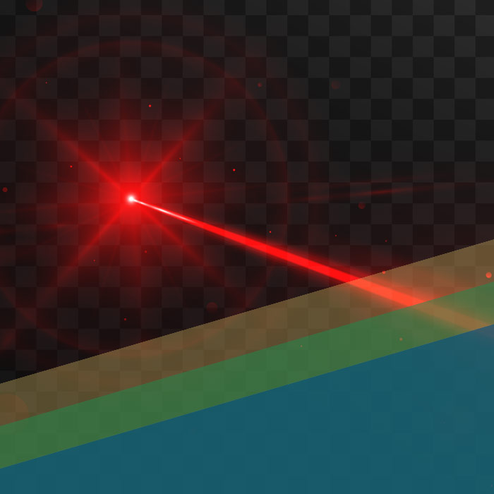 Red Lazer Beam On Checked Background